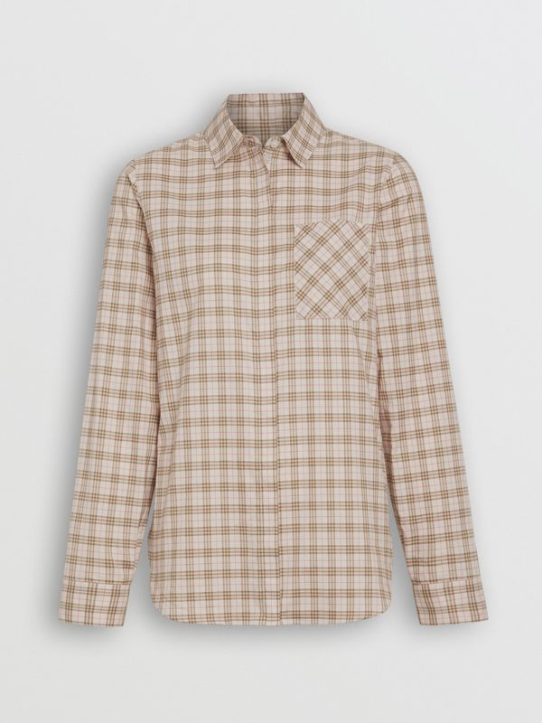 Check Cotton Shirt in Ice Pink - Women | Burberry - cell image 3
