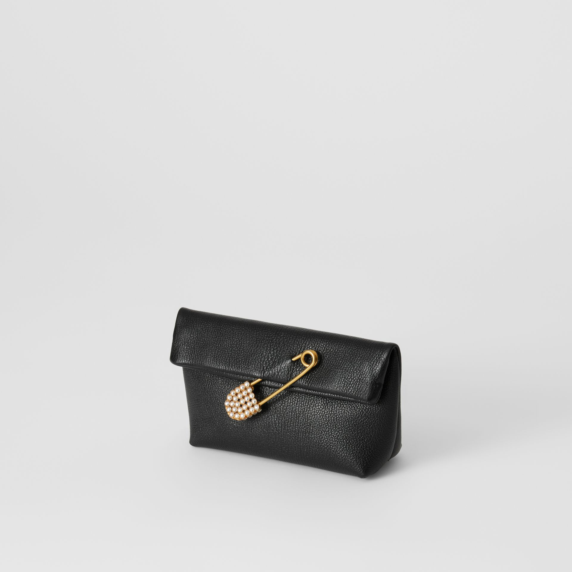 The Small Pin Clutch in Leather in Black - Women | Burberry - gallery image 3