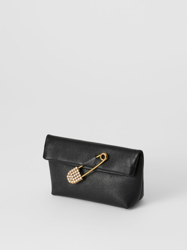 The Small Pin Clutch in Leather in Black - Women | Burberry - cell image 3