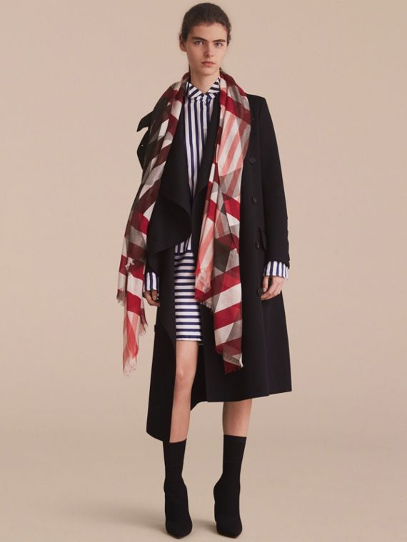 Check and Stripe Modal Cashmere Silk Scarf