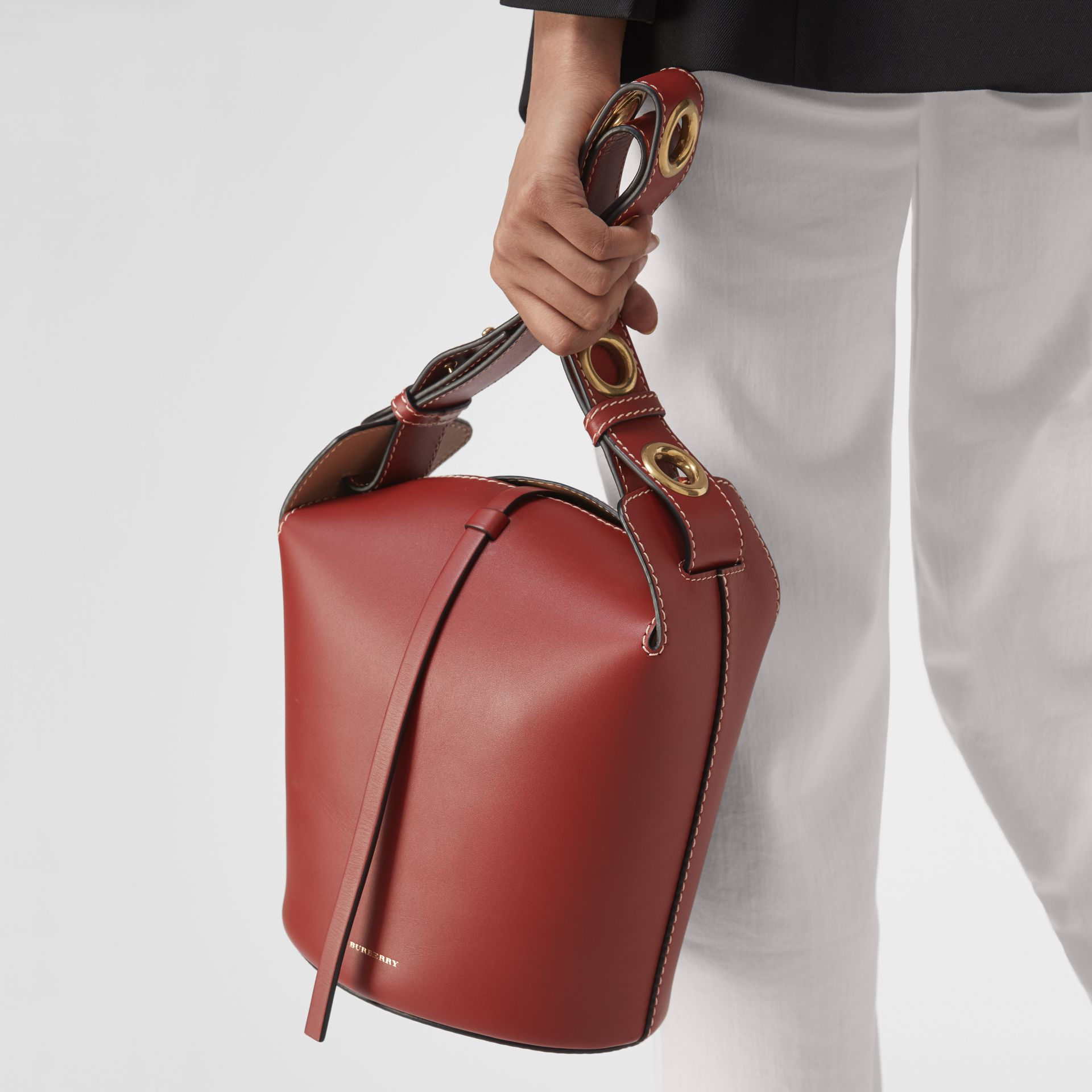 The Small Leather Bucket Bag in Crimson - Women | Burberry - gallery image 3