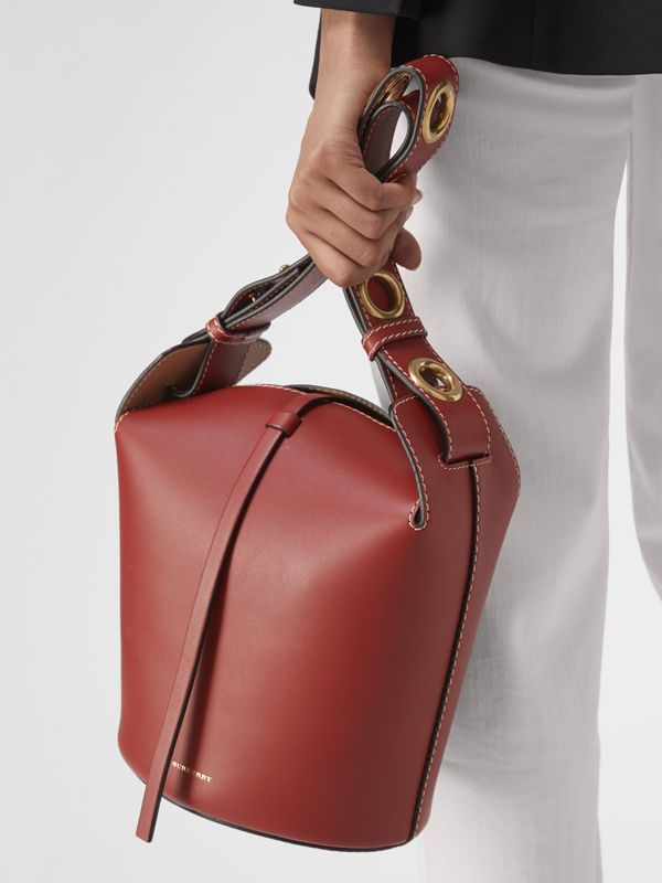 The Small Leather Bucket Bag in Crimson - Women | Burberry - cell image 3