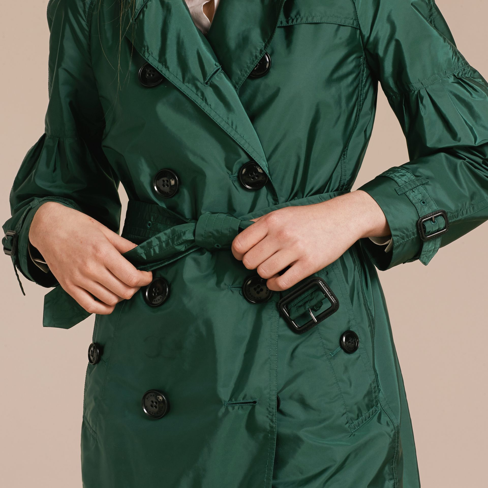 Packaway Trench Coat with Bell Sleeves in Deep Bottle Green - gallery image 5