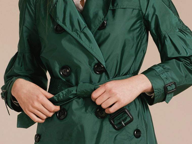Packaway Trench Coat with Bell Sleeves in Deep Bottle Green - cell image 4