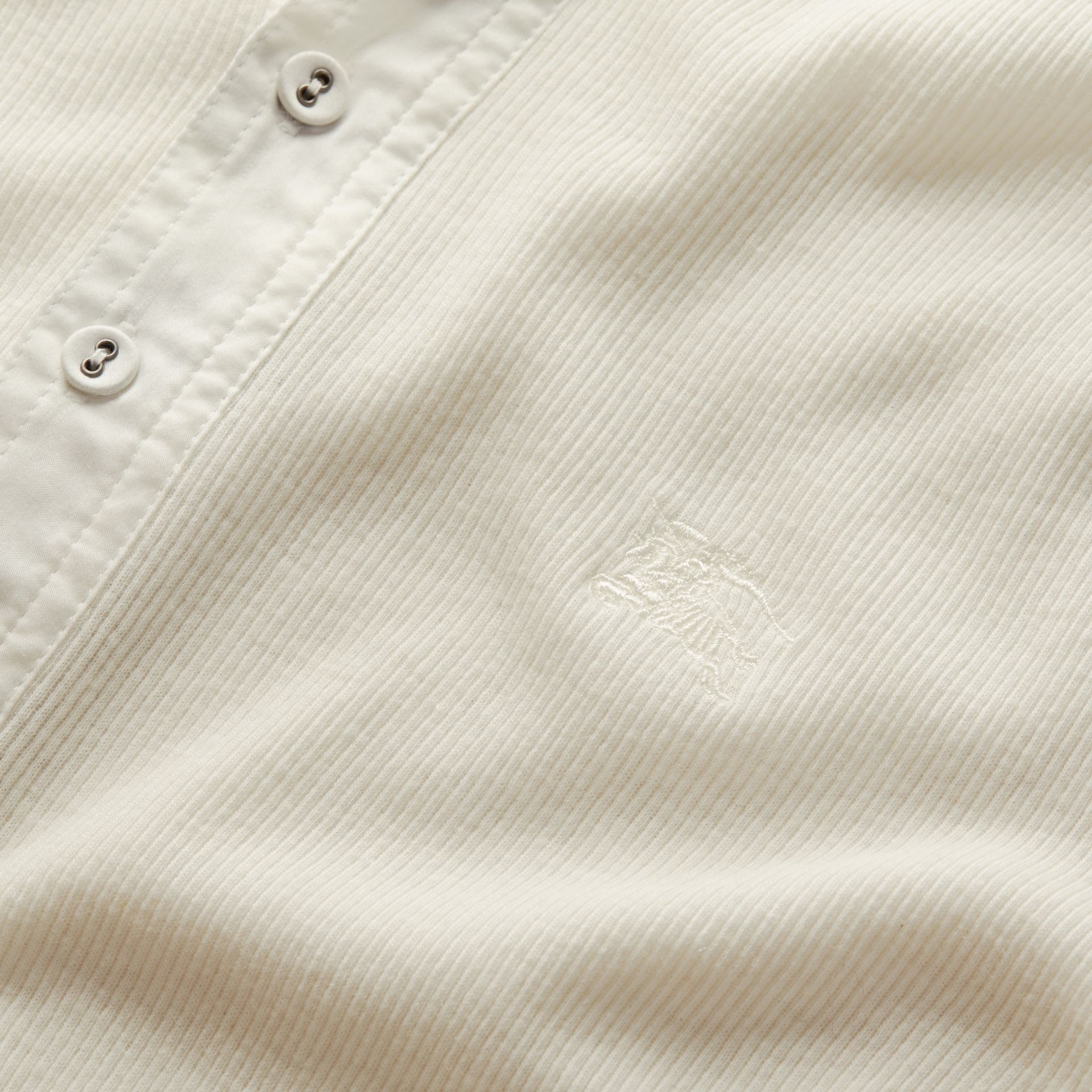 White Ribbed Cotton Wool Henley Top White - gallery image 2