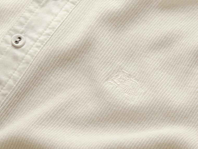 White Ribbed Cotton Wool Henley Top White - cell image 1