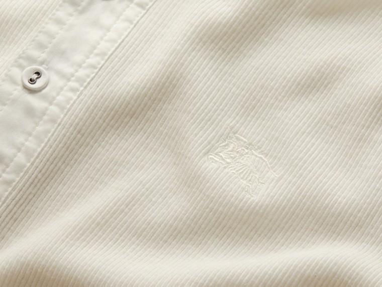 Weiss Henley-Oberteil aus gerippter Baumwolle und Wolle Weiss - cell image 1