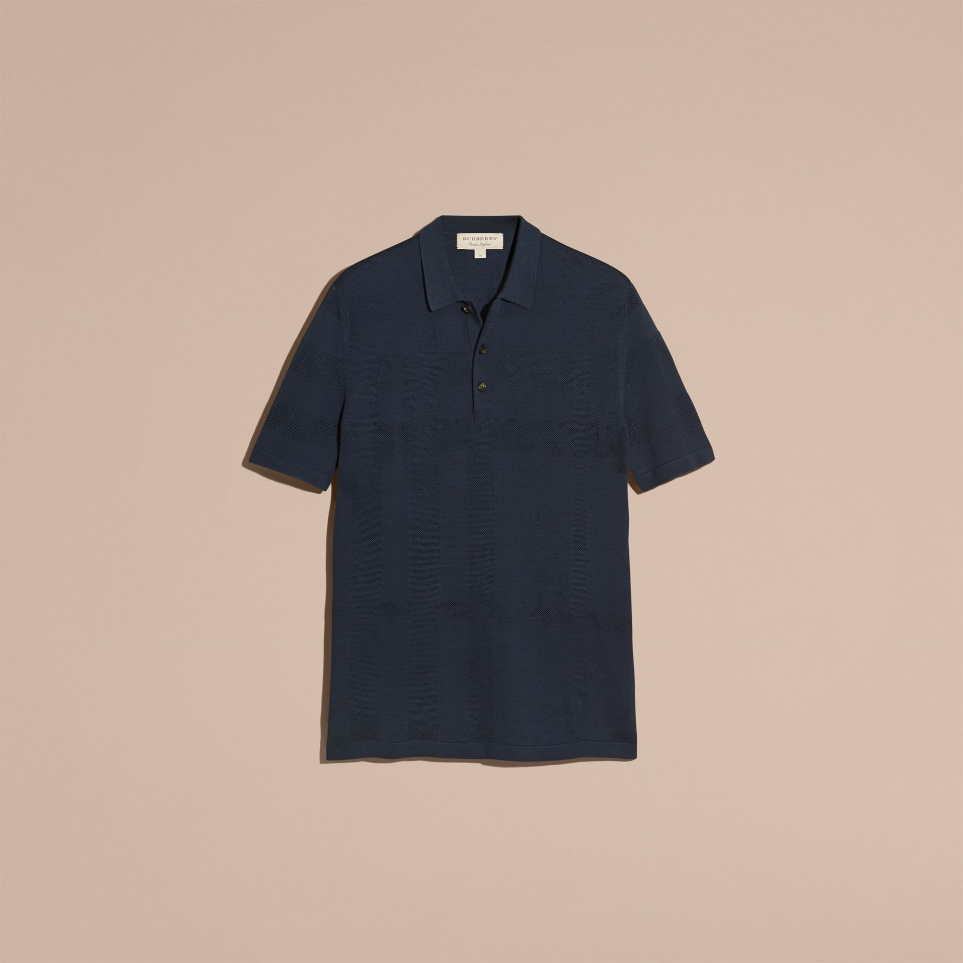 Check Jacquard Piqué Silk Cotton Polo Shirt in Navy - Men | Burberry - gallery image 3