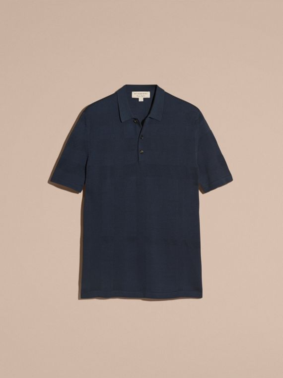 Check Jacquard Piqué Silk Cotton Polo Shirt in Navy - Men | Burberry - cell image 3