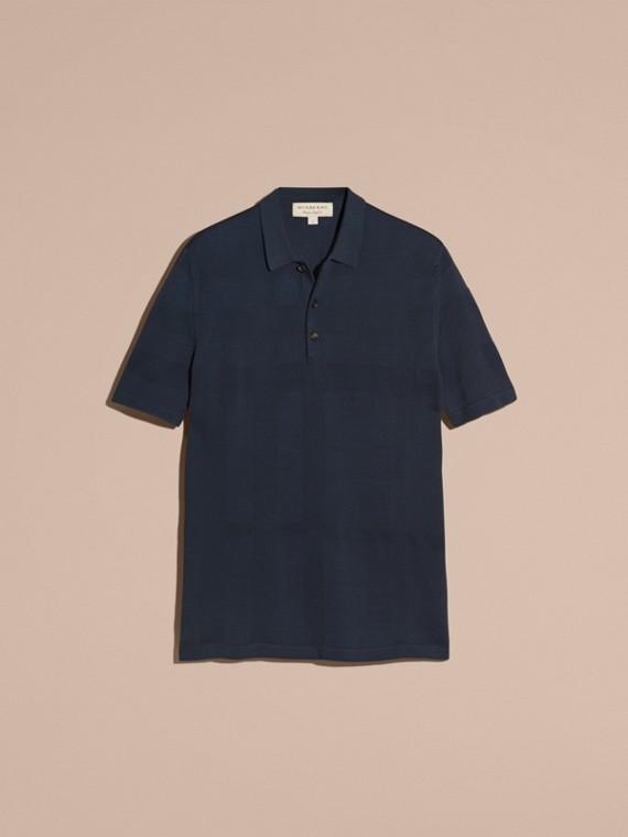 チェックジャカード ピケシルクコットン ポロシャツ (ネイビー) - メンズ | バーバリー - cell image 3