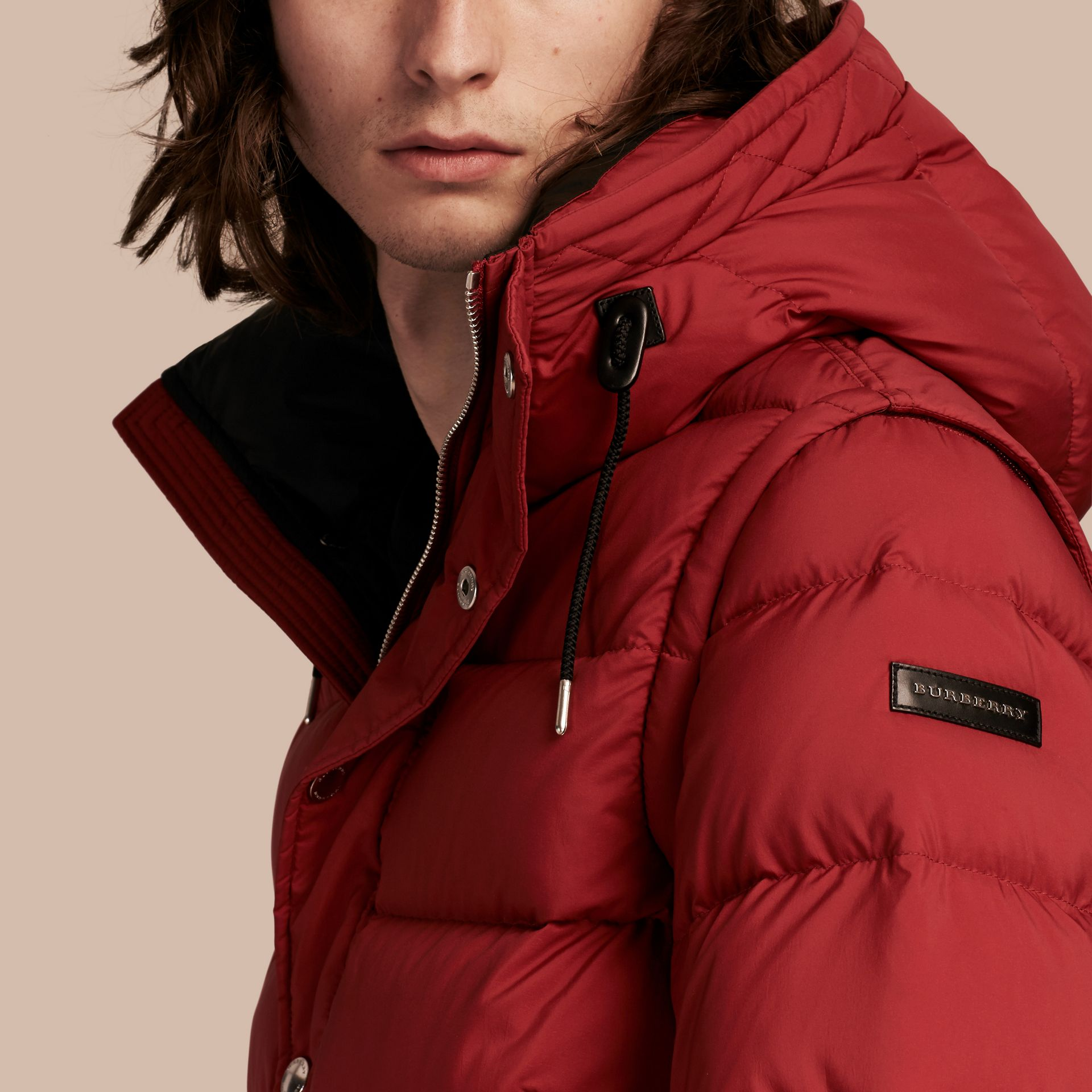 Parade red Down-filled Hooded Jacket with Detachable Sleeves Parade Red - gallery image 5