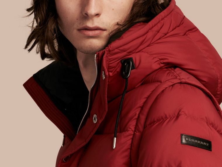 Parade red Down-filled Hooded Jacket with Detachable Sleeves Parade Red - cell image 4