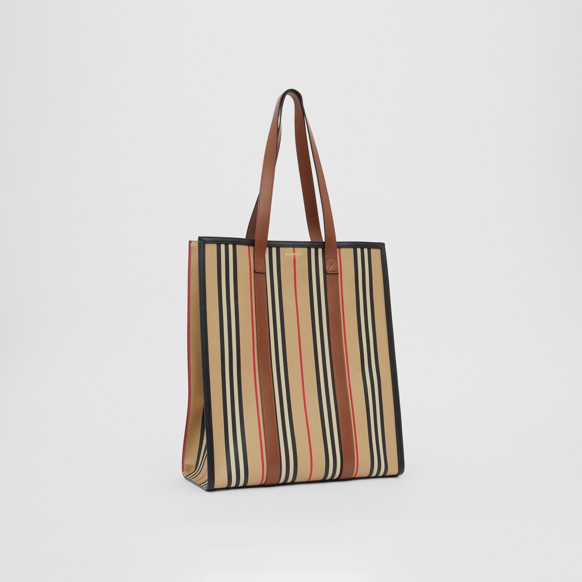 Icon Stripe E-canvas Portrait Tote Bag in Archive Beige | Burberry Canada - gallery image 6