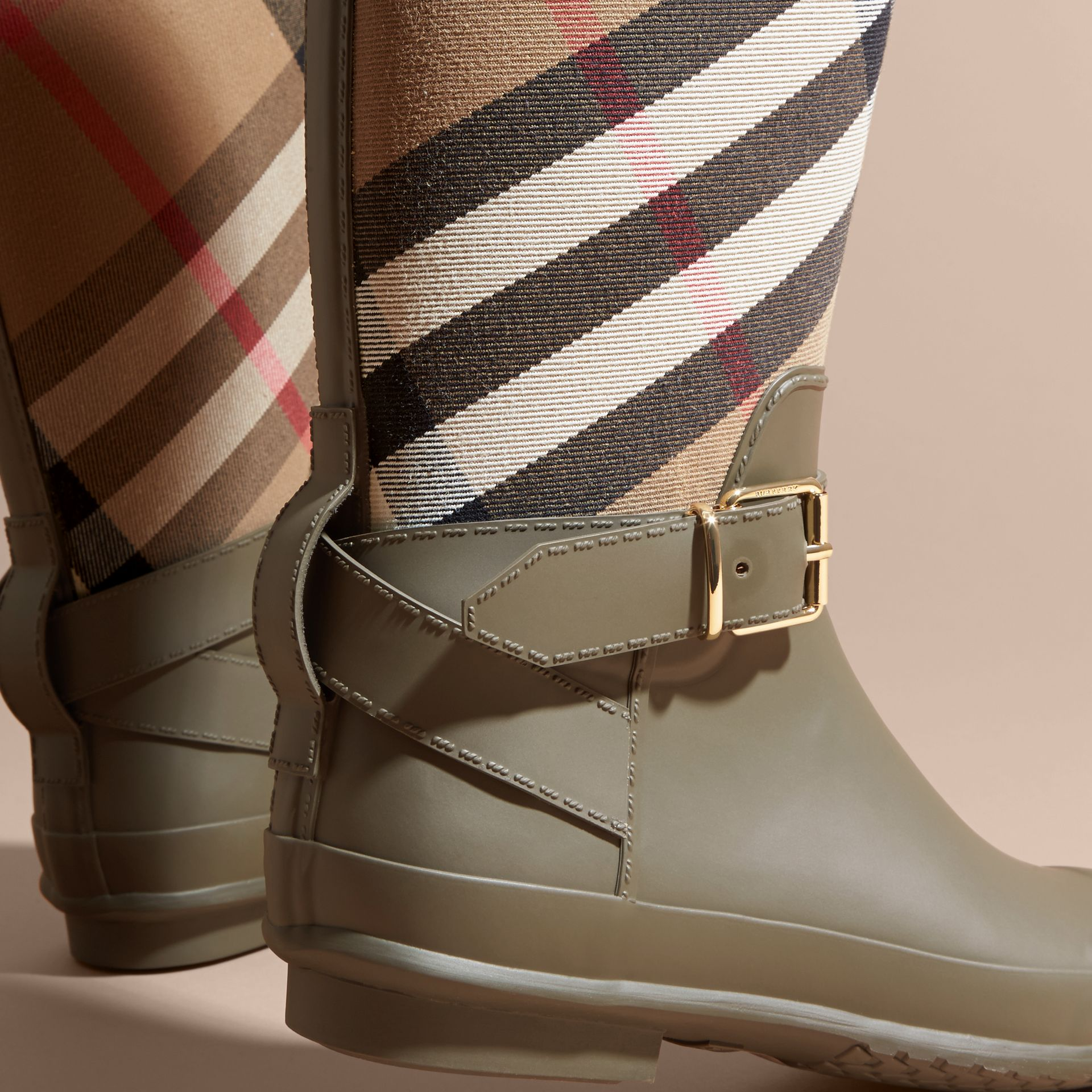 Belt Detail Check and Rubber Rain Boots House Check/military Green - gallery image 2