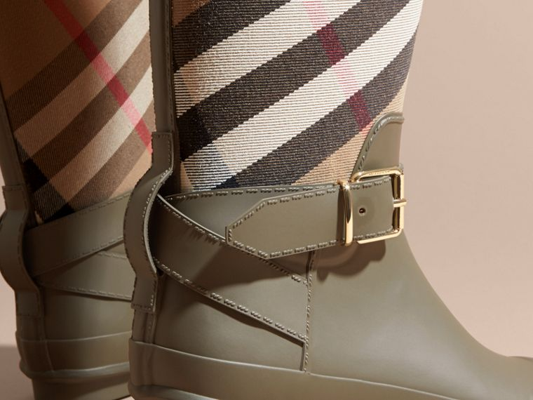 Belt Detail Check and Rubber Rain Boots House Check/military Green - cell image 1