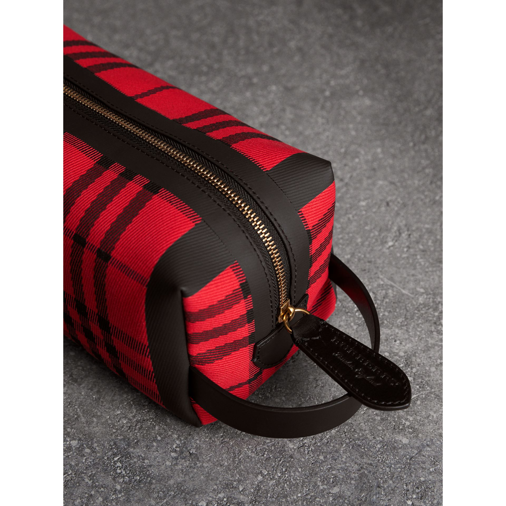 Tartan Cotton Pouch in Military Red | Burberry - gallery image 1
