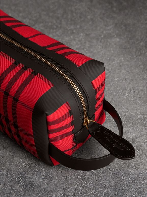 Tartan Cotton Pouch in Military Red | Burberry United States - cell image 1