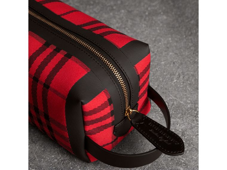 Tartan Cotton Pouch in Military Red | Burberry Singapore - cell image 1