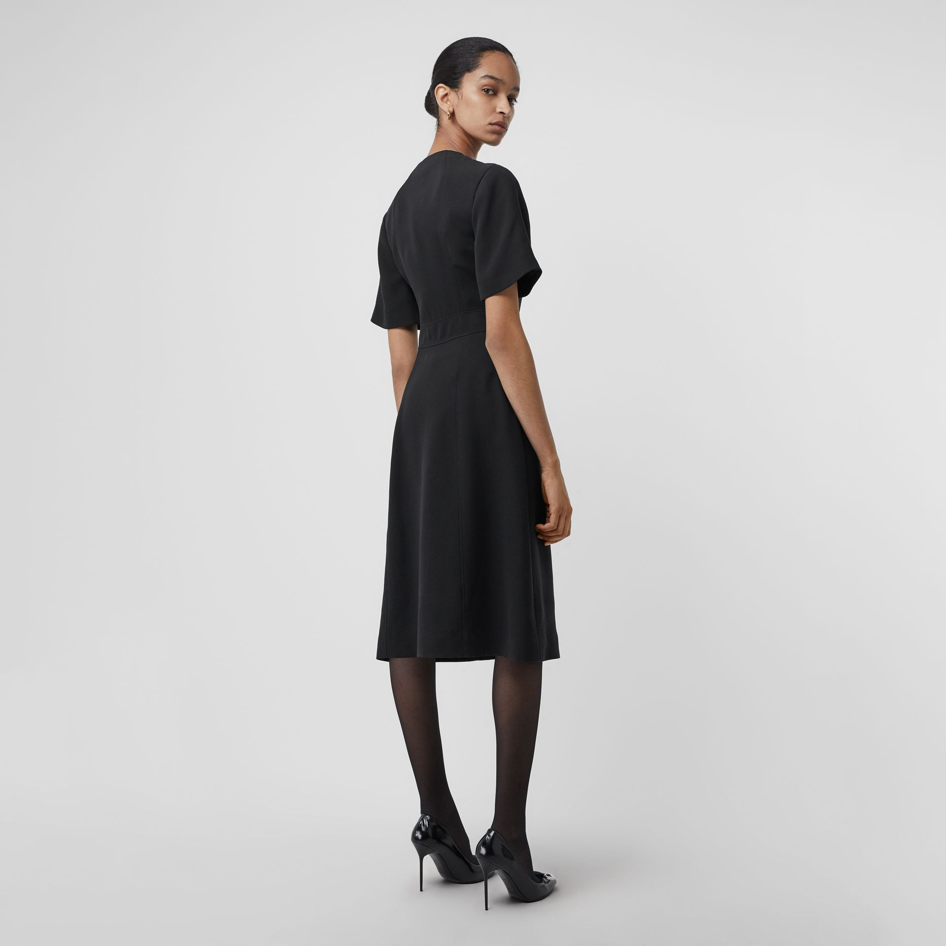 Short-sleeve D-ring Detail Silk Wool Dress in Black - Women | Burberry - gallery image 2