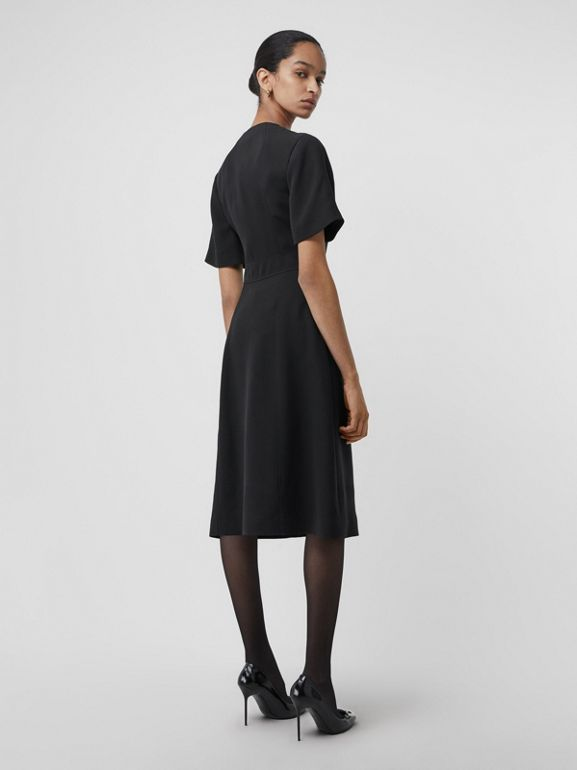 Short-sleeve D-ring Detail Silk Wool Dress in Black - Women | Burberry United States - cell image 1