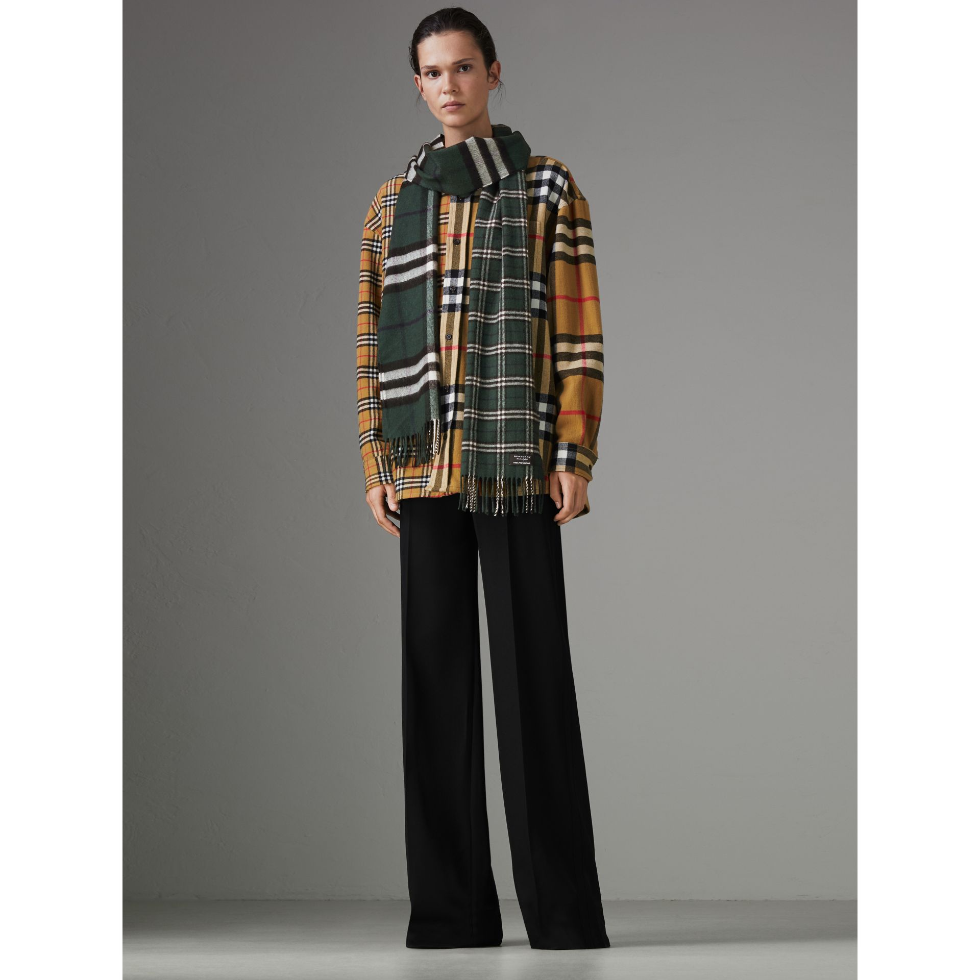 Gosha x Burberry Check Cashmere Double Scarf in Dark Forest Green | Burberry - gallery image 2