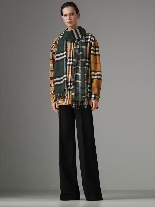 Gosha x Burberry Check Cashmere Double Scarf in Dark Forest Green | Burberry - cell image 2