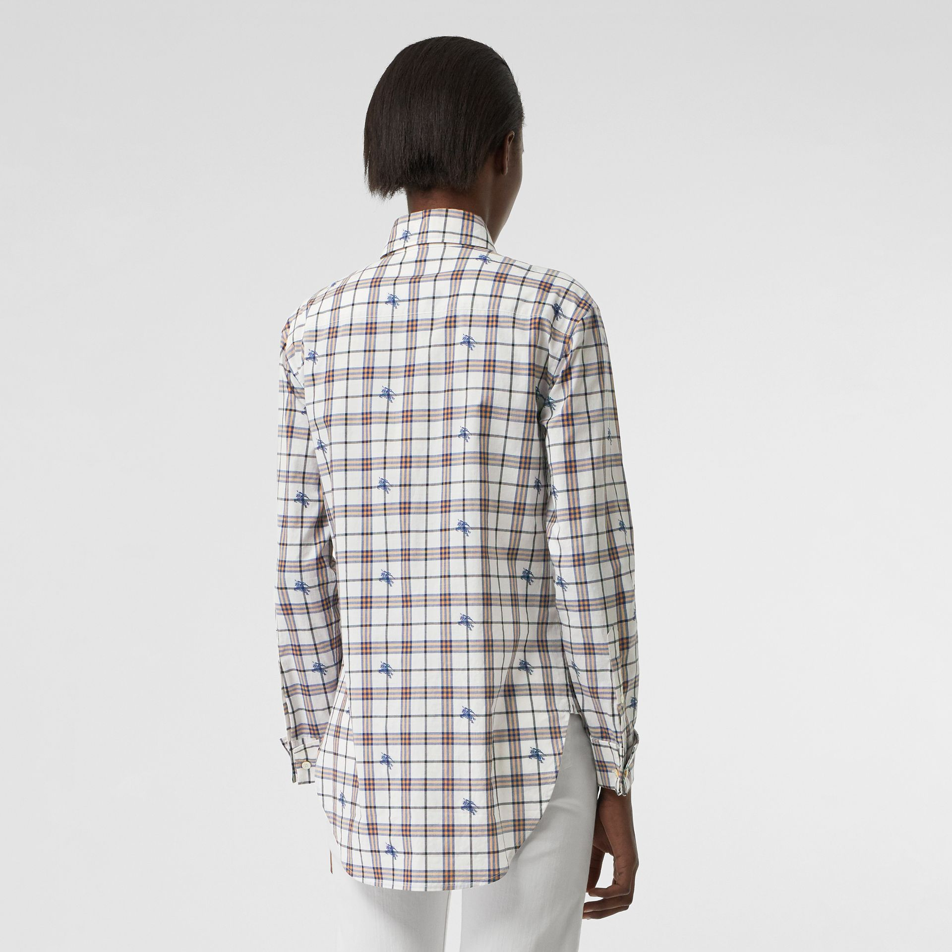 Fil Coupé Check Cotton Shirt in Parchment - Women | Burberry - gallery image 2