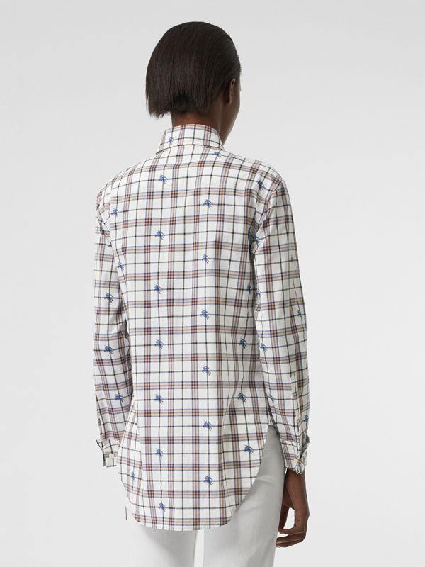 Fil Coupé Check Cotton Shirt in Parchment - Women | Burberry Singapore - cell image 2