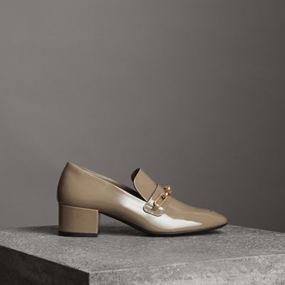 Link Detail Patent Leather Block-Heel Loafers, Taupe Grey