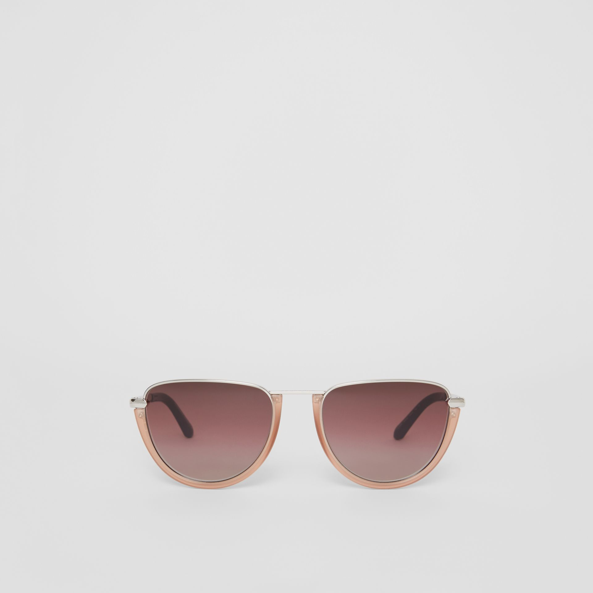 Half Moon Pilot Round Frame Sunglasses in Nude - Women | Burberry - gallery image 0