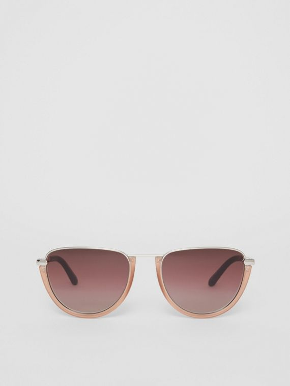 Half Moon Pilot Round Frame Sunglasses in Nude