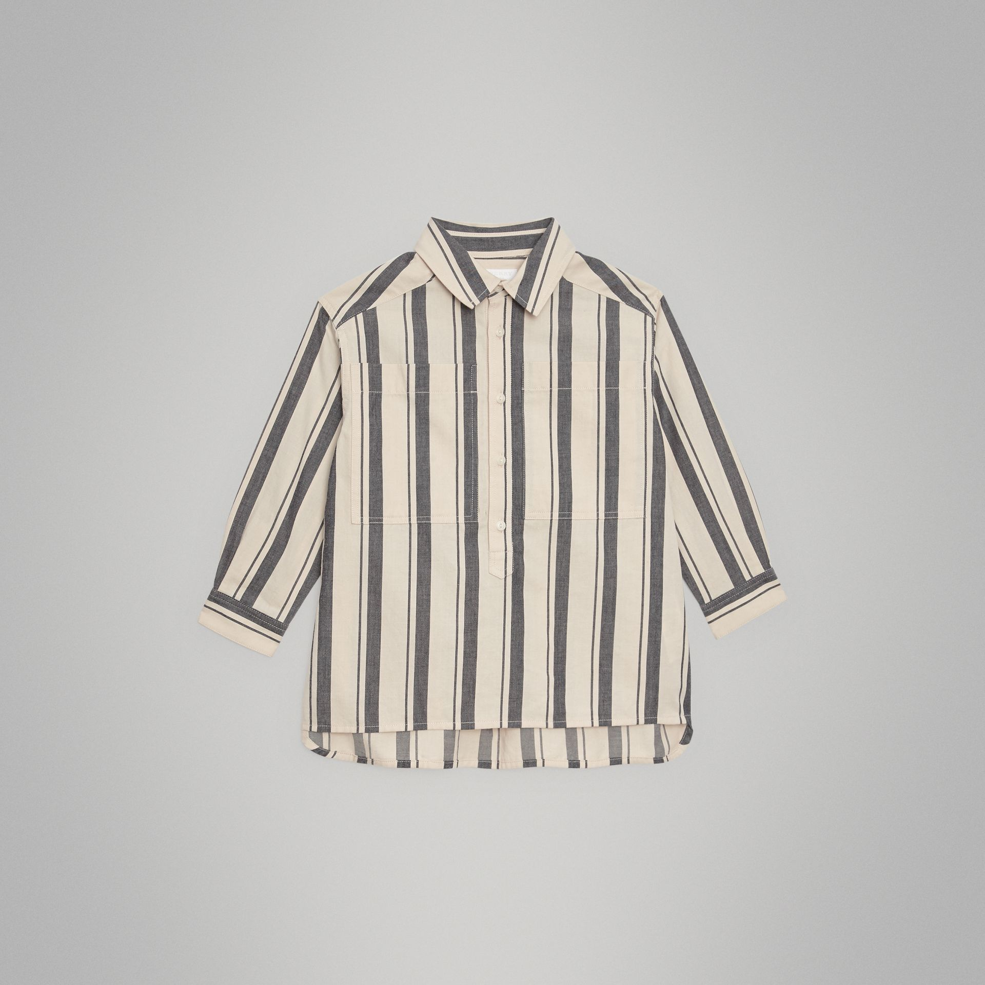 Striped Cotton Wool Shirt in Dark Grey | Burberry Canada - gallery image 0