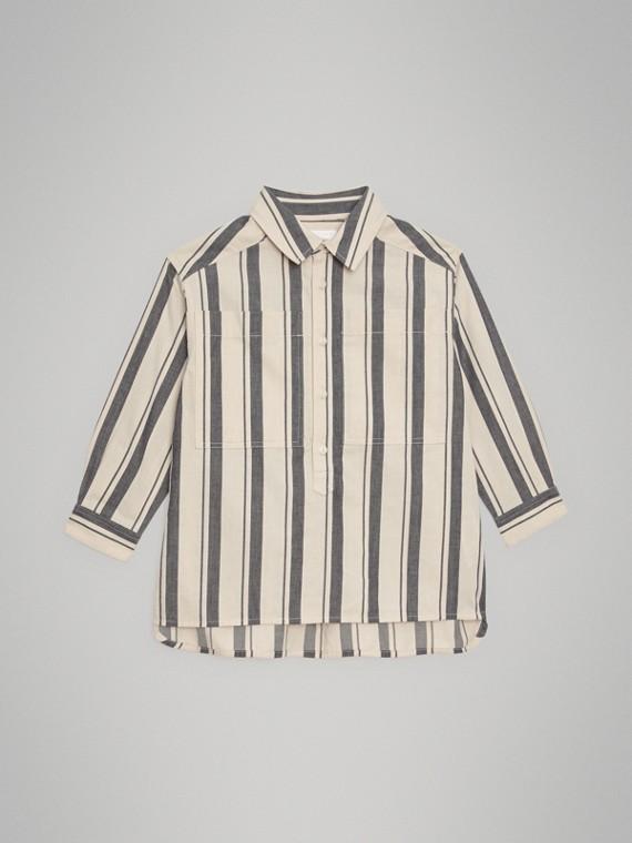 Camisa listrada de algodão e lã (Cinza Escuro)