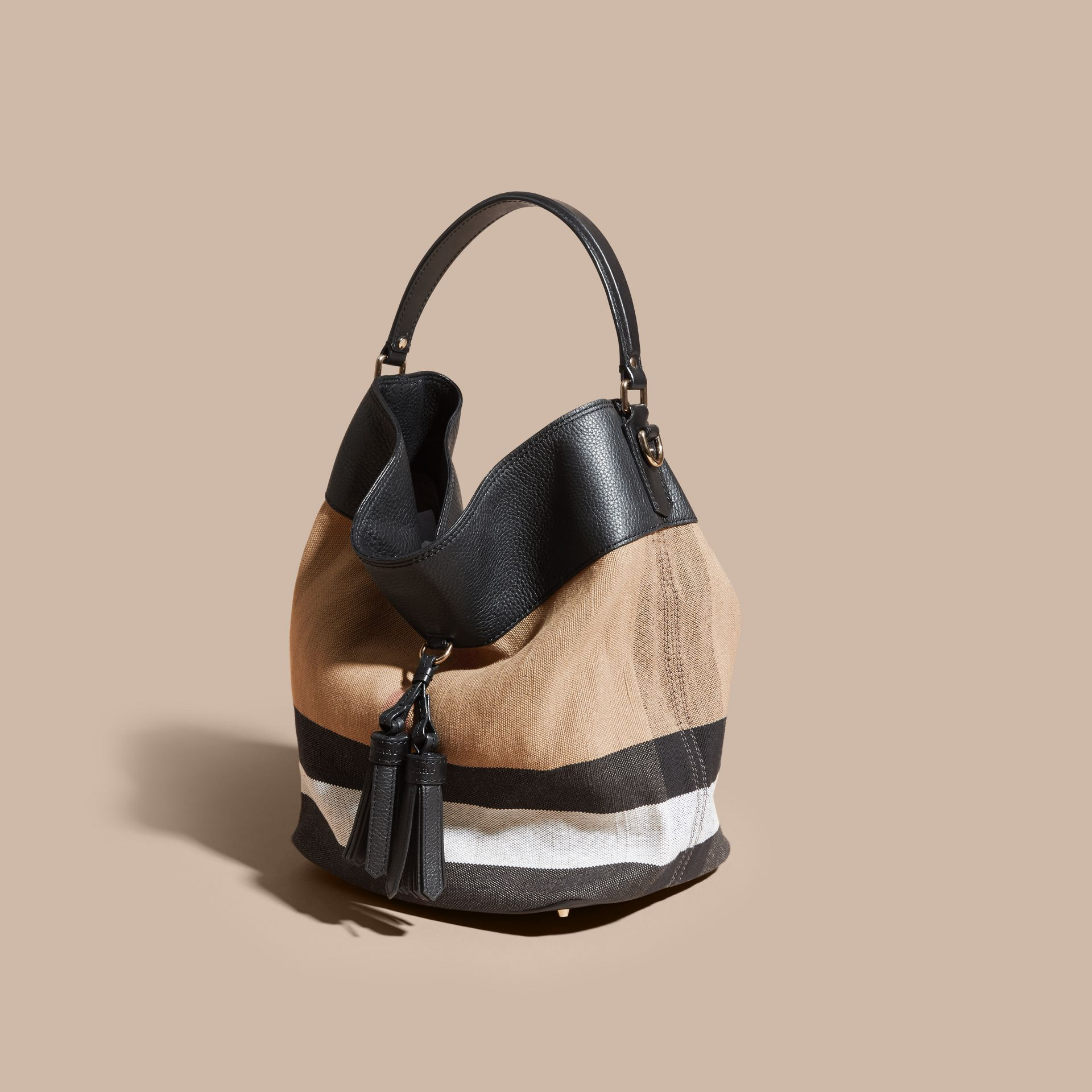 Sac The Ashby medium en toile Canvas check et cuir Noir/noir - photo de la galerie 8