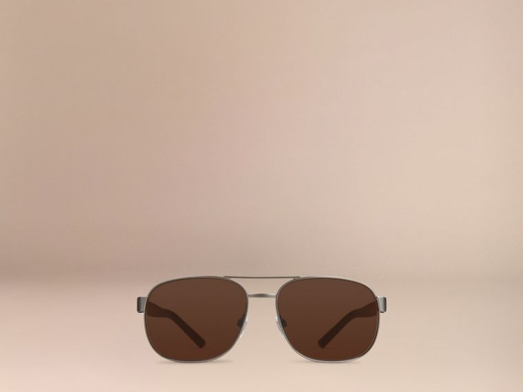 Brown Square Frame Aviator Sunglasses Brown - cell image 4