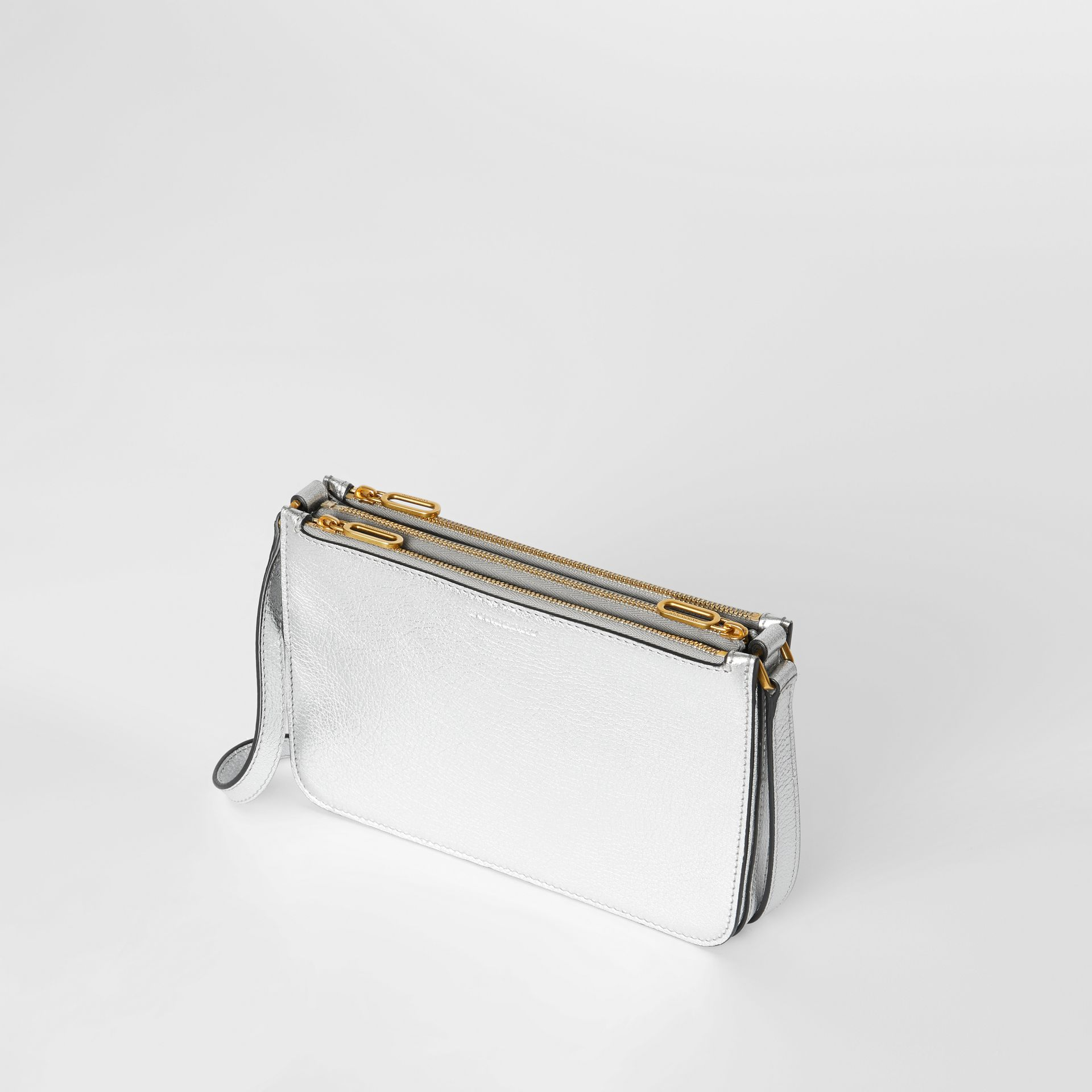 Triple Zip Metallic Leather Crossbody Bag in Silver - Women | Burberry - gallery image 4