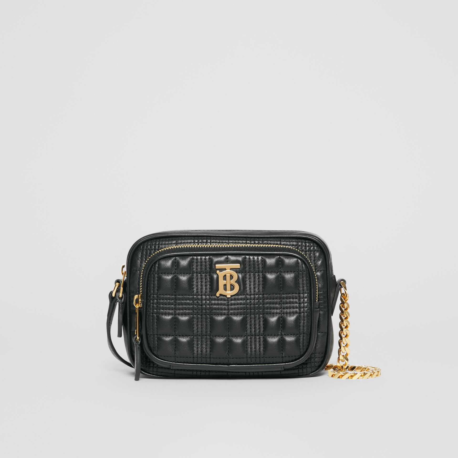 Small Quilted Check Lambskin Camera Bag in Black - Women | Burberry - gallery image 0