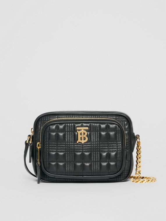Small Quilted Check Lambskin Camera Bag in Black
