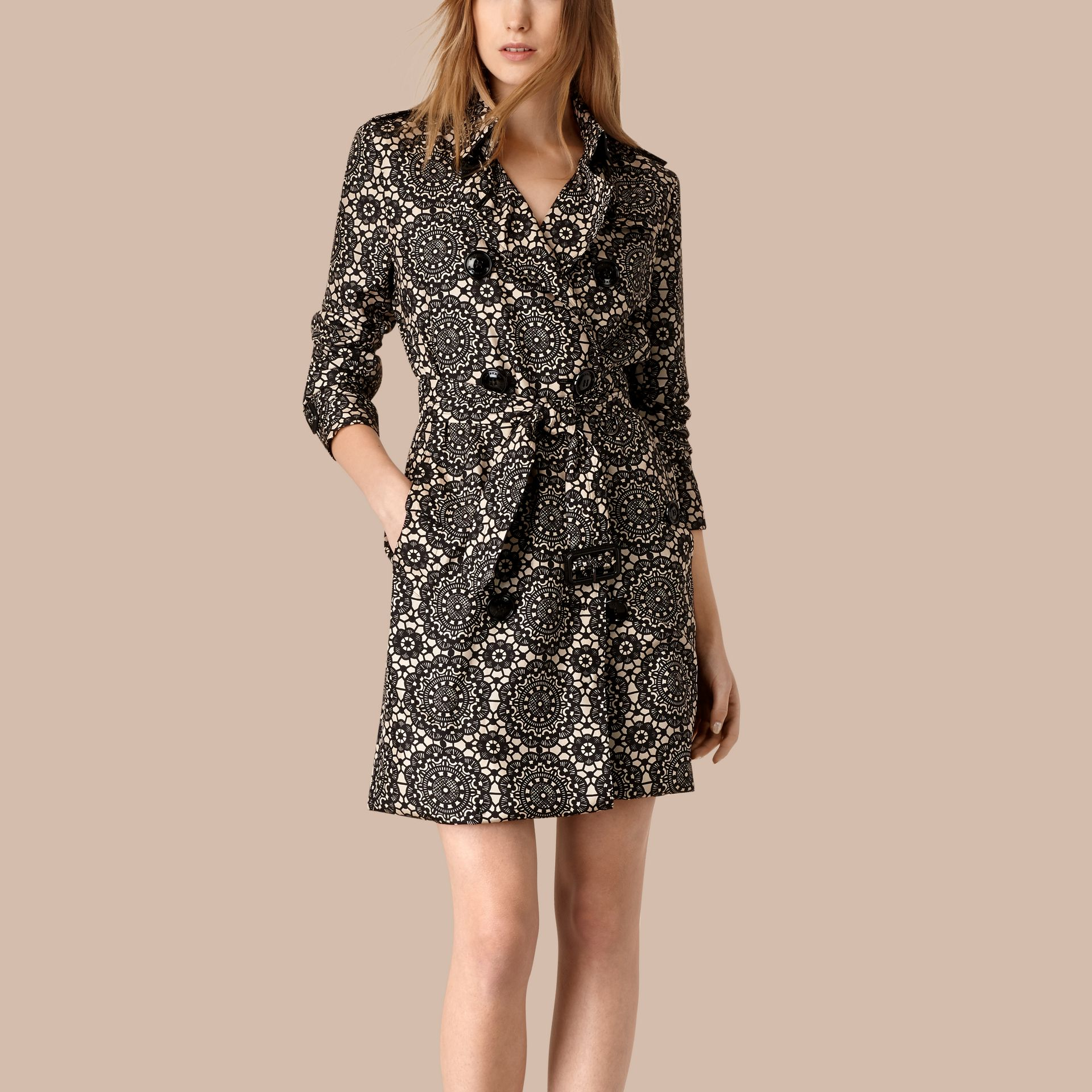 Stone/black Lace Print Unlined Silk Trench Coat - gallery image 1