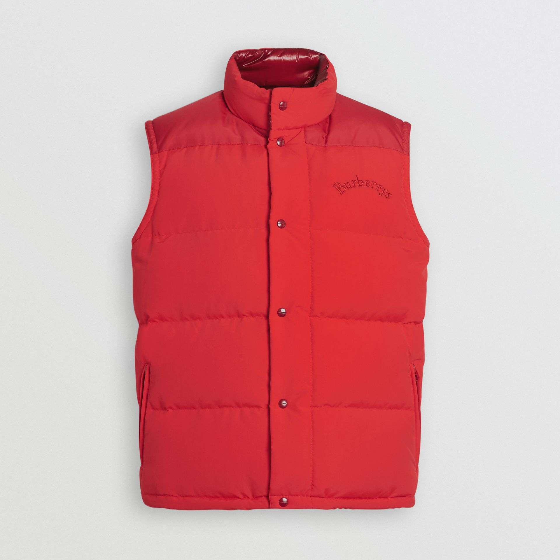 Embroidered Archive Logo Down-filled Gilet in Bright Red - Men | Burberry United Kingdom - gallery image 3