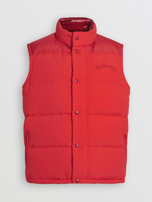 Embroidered Archive Logo Down-filled Gilet in Bright Red - Men | Burberry United Kingdom - cell image 3