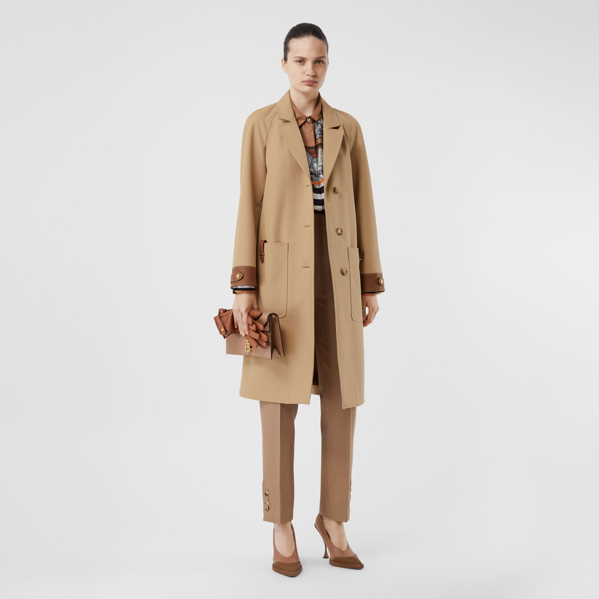 Leather Trim Bonded Cotton Lab Coat in Biscuit - Women | Burberry United States - gallery image 0