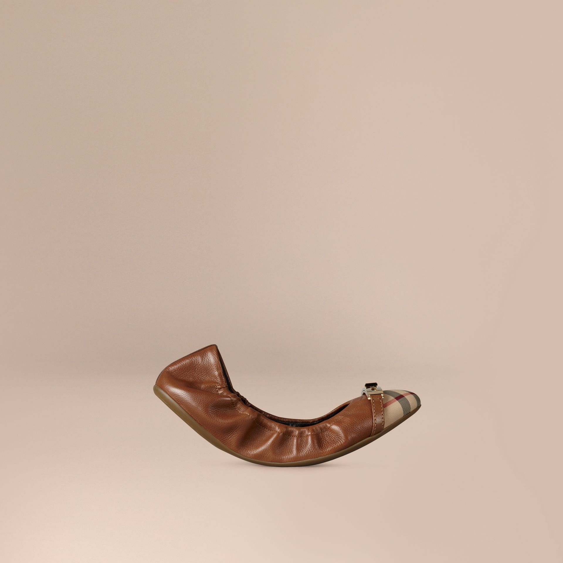 Horseferry Check Leather Ballerinas in Tan - gallery image 1
