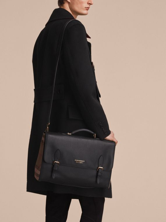 Leather and House Check Satchel in Black - Men | Burberry - cell image 2
