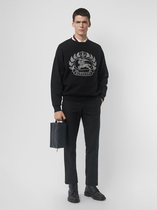 London Check and Leather Pouch in Navy/black - Men | Burberry Canada - cell image 2