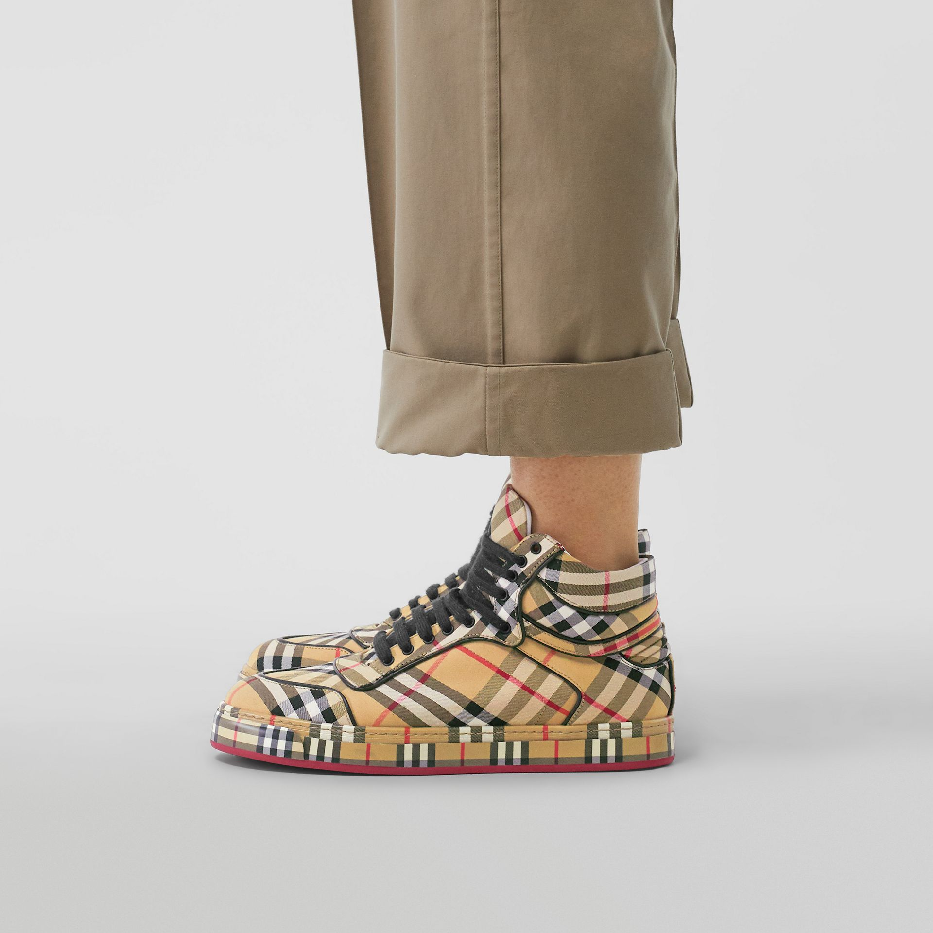 Vintage Check Cotton High-top Sneakers in Antique Yellow - Women | Burberry Australia - gallery image 2