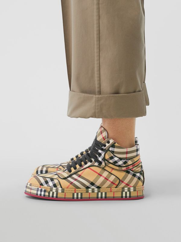 Vintage Check Cotton High-top Sneakers in Antique Yellow - Women | Burberry Australia - cell image 2