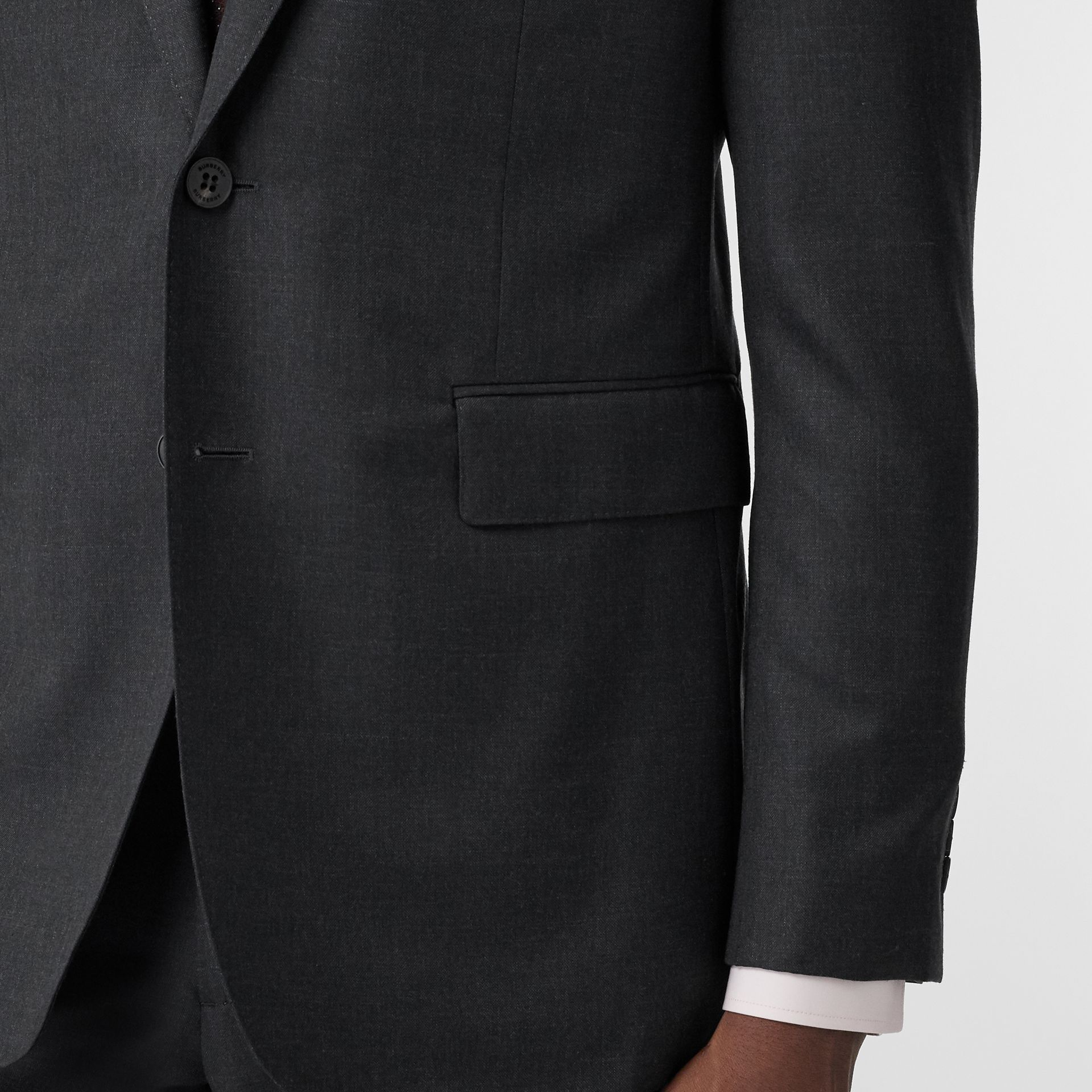 Slim Fit Wool Silk Linen Suit in Dark Grey Melange - Men | Burberry - gallery image 4