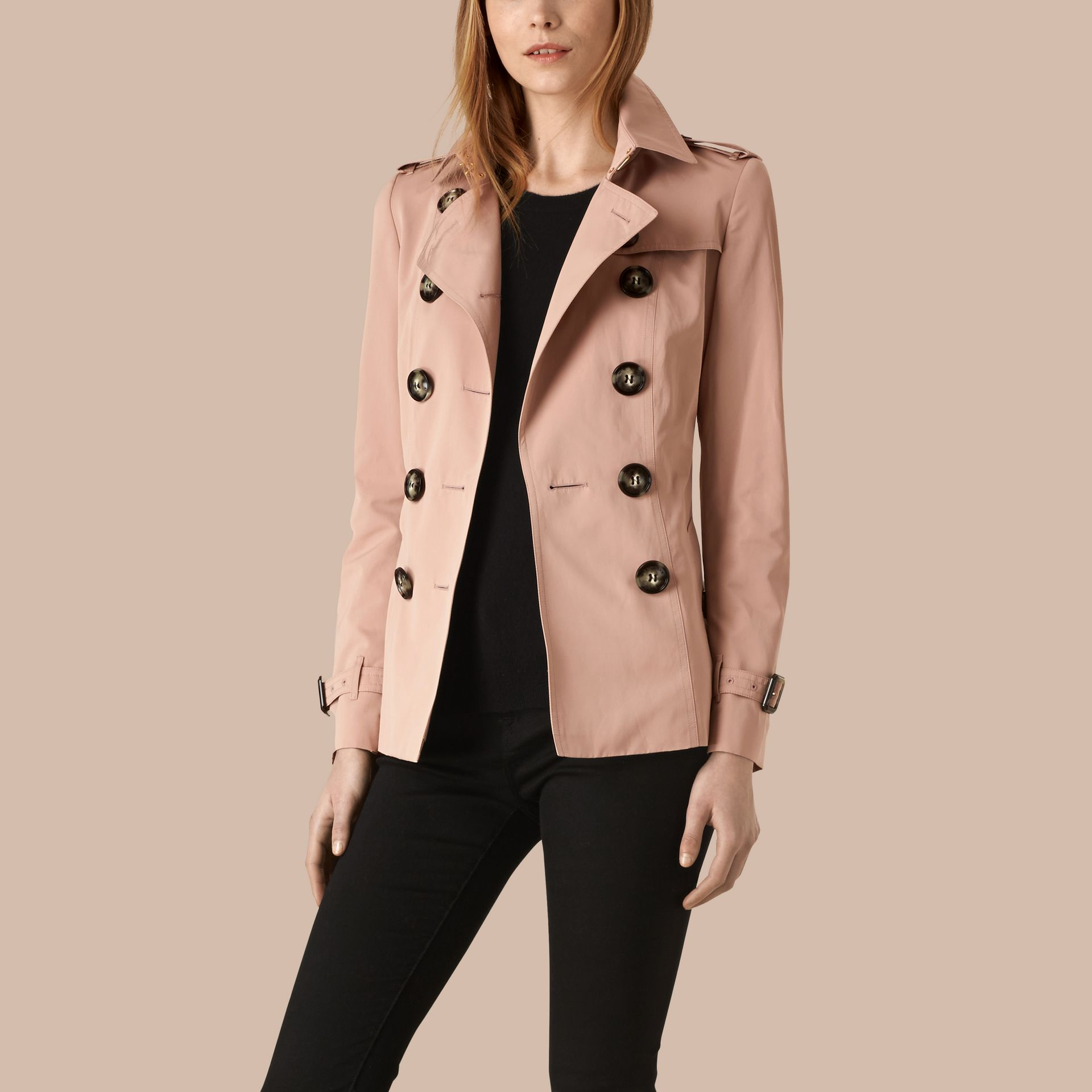 Nude Short Technical Trench Coat - gallery image 1