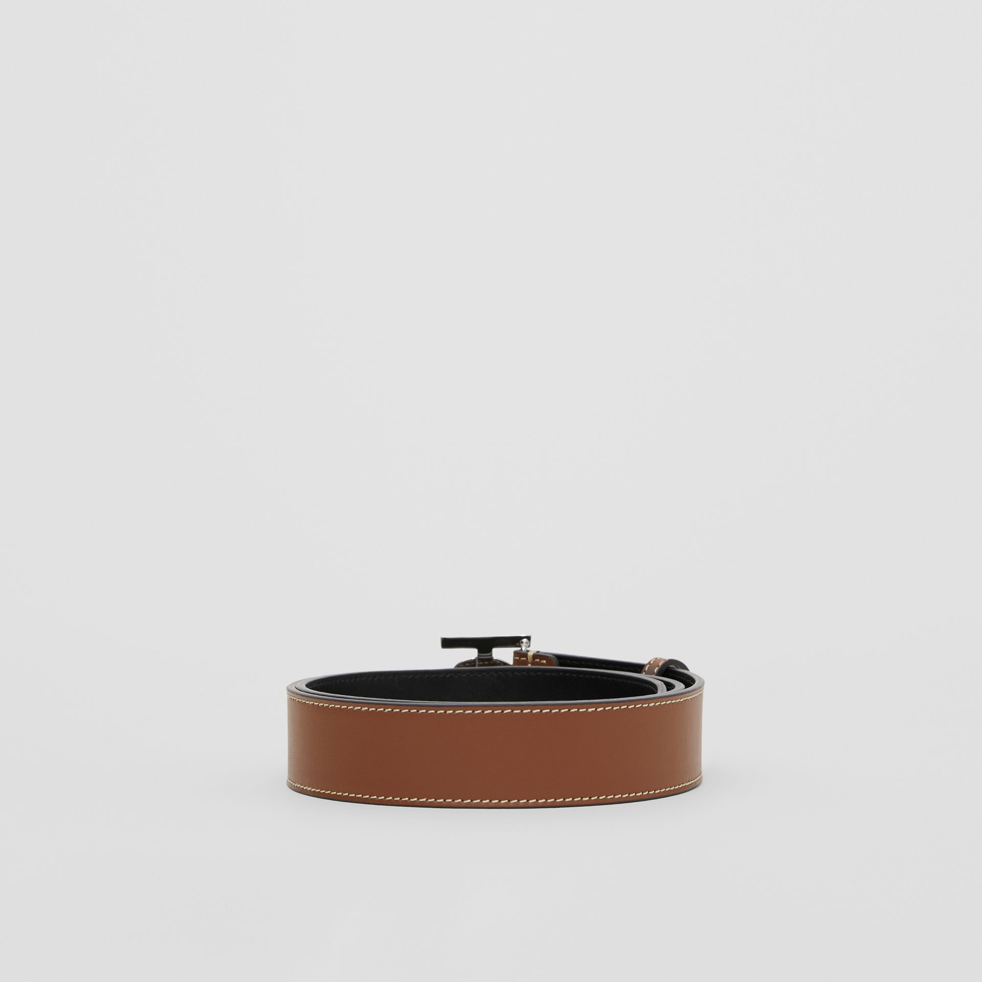 Monogram Motif Topstitched Leather Belt in Tan - Men | Burberry - gallery image 4